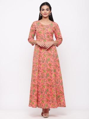 Women's Peach Cotton Printed Anarkali Long Dress