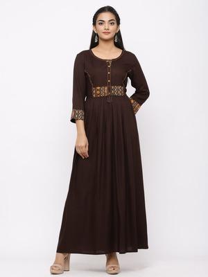 Women's Brown Rayon Printed Anarkali Long Dress