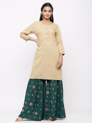 Women's  Beige Rayon Slub Embroidered Straight Kurta Sharara Set