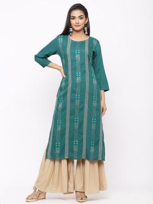 Women's  Teal Green Rayon Slub Embroidered Straight Kurta Sharara Set