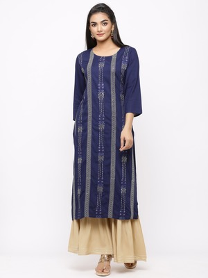 Women's  Navy Blue Rayon Slub Embroidered Straight Kurta Sharara Set