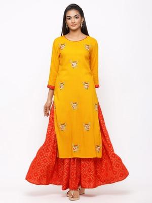 Women's  Mustard/Red Rayon Slub Print & Embroidery Straight Kurta Skirt Set