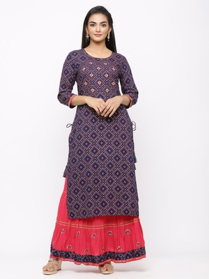 Women's  Navy Blue Rayon Slub & Cotton Print Straight Kurta Skirt Set