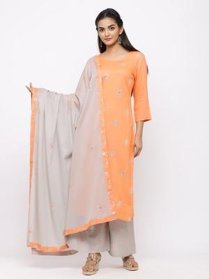 Women's  Orange Rayon Slub, Cotton Embroidered Straight Kurta, Palazzo & Dupatta Set