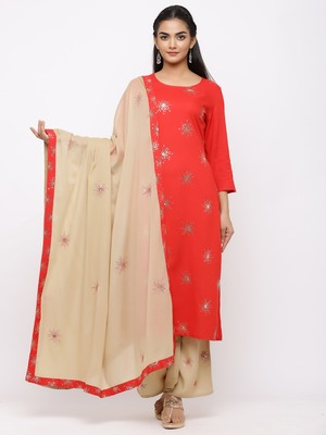 Women's  Red Rayon Slub, Cotton Embroidered Straight Kurta, Palazzo & Dupatta Set