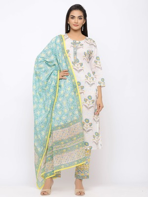 Women's  White Cotton Print Straight Kurta, Pant & Dupatta Set