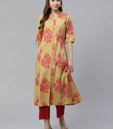 Mustard embroidered cotton embroidered-kurtis