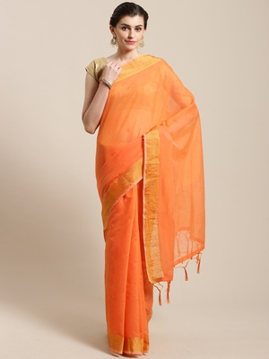 Orange hand woven linen saree with blouse