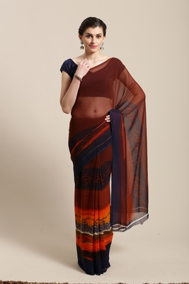 Brown hand woven faux georgette saree with blouse