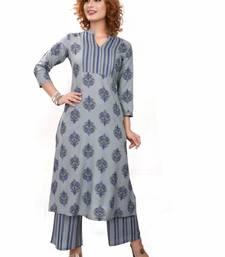 Blue paisley cotton cotton-kurtis