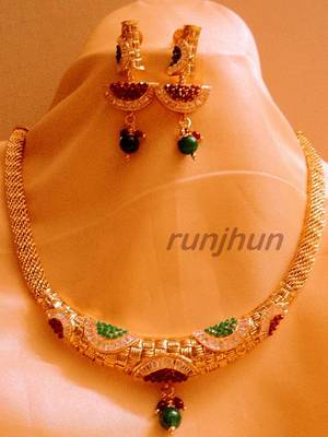 royal cz and polki hasli necklace