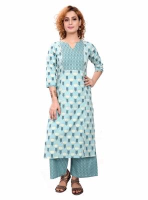 Light blue printed cotton cotton-kurtis