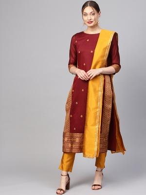 Maroon printed Jacquard stitched kurta sets