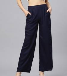 Navy plain rayon patialas-pants