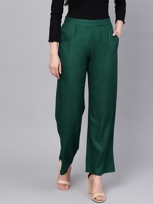 Green plain rayon patialas-pants