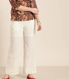 White plain cotton patialas-pants