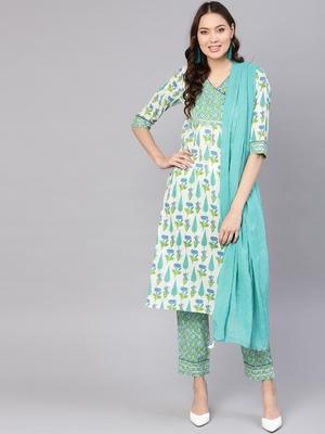 Off White printed Cotton stitched kurta sets