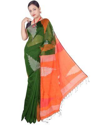 Bottle Green Hand Weaving Work Box Temple Design Handloom saree With blouse