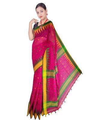 Pink Hand Weaving Work Cotton Silk Temple Design Handloom saree With blouse