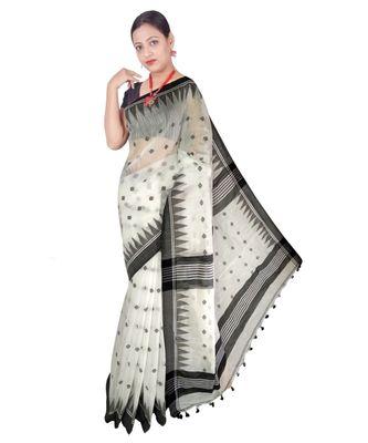 White Hand Weaving Work Cotton Silk Temple Design Handloom saree With blouse