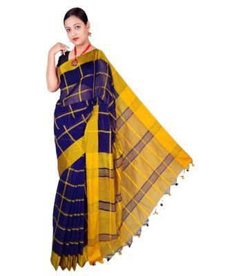 Blue Hand Weaving Work Cotton Silk Check Design Handloom saree With blouse