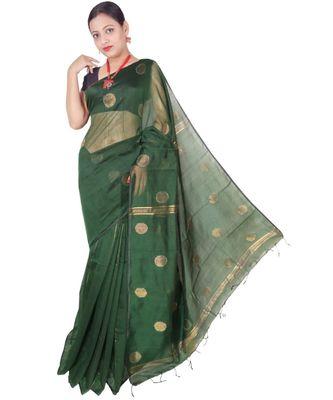 Bottle Green Hand Weaving Work Cotton Silk Ball Design Handloom saree With blouse