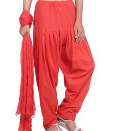 Orange plain cotton patialas-pants