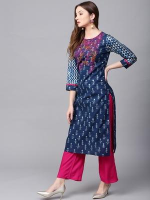 Blue printed Cotton stitched kurta sets