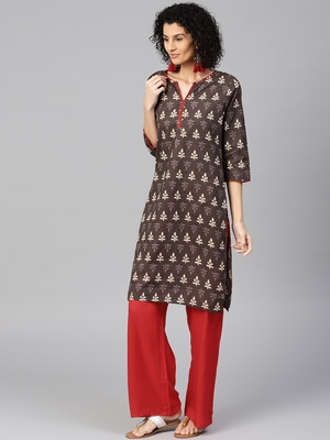 Brown printed Cotton stitched kurta sets