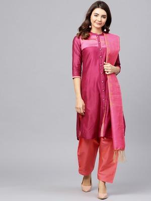 Magenta printed Chanderi stitched kurta sets