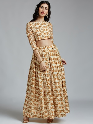 Cream printed Silk stitched kurta sets