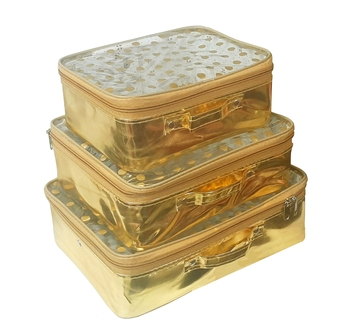 atorakushon®Fabric Multipurpose 22x17x9Cm MakeUp Pouches Jewellery Necklace Cosmetic Organizer for Wardrobe Set of3 Gold