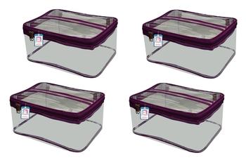 atorakushon® Fabric Multipurpose Make Up Pouches Jewellery Necklace Cosmetic Organizer for Wardrobe Pack of 4 Purple