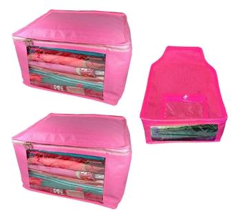 Atorakushon non wovan Fabric Combo Saree Cover Blouse Clothes Storage Bag Wardrobe Organiser Set of 3 (Pink)