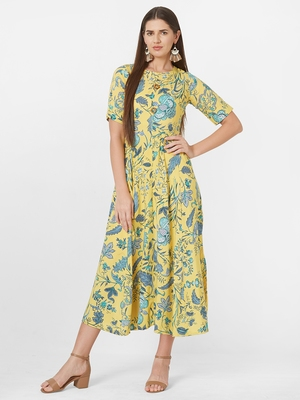 Yellow printed viscose rayon ethnic-kurtis