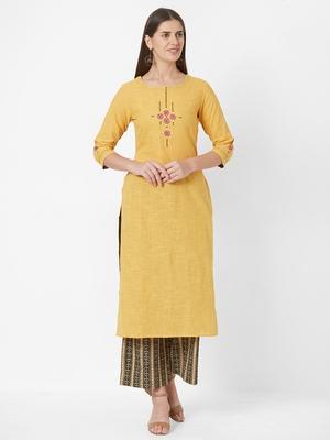Yellow plain cotton ethnic-kurtis