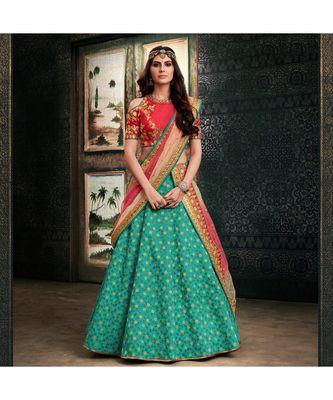 green embroidered Silk bridal-lehengas