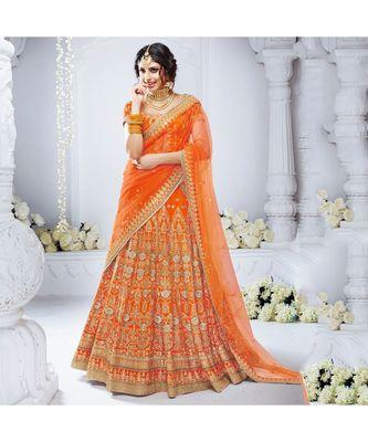 Orange embroidered Bhagalpuri Silk bridal-lehengas