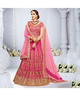 Pink embroidered Crystal Silk bridal-lehengas
