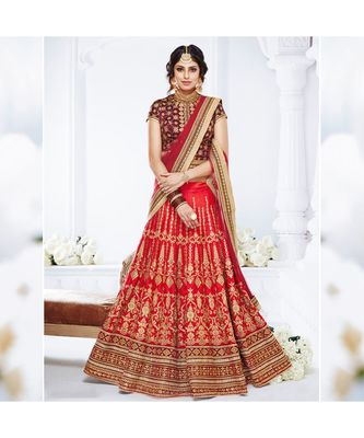 Red embroidered dupion bridal-lehengas