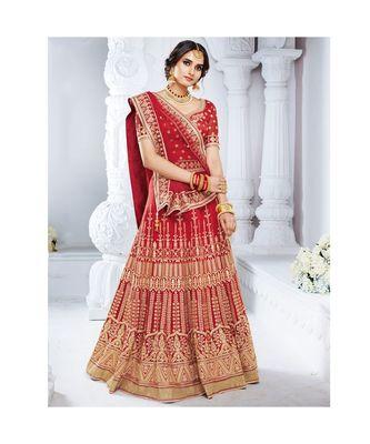 Red embroidered Bhagalpuri Silk bridal-lehengas