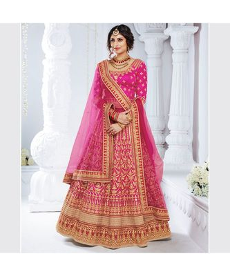 Magenta embroidered Bhagalpuri Silk bridal-lehengas