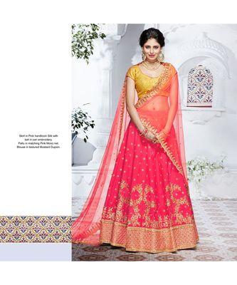 Pink embroidered silk bridal-lehengas