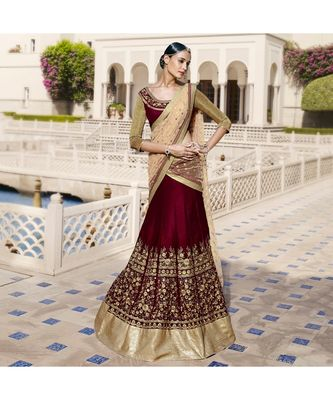 Maroon embroidered Velvet bridal-lehengas