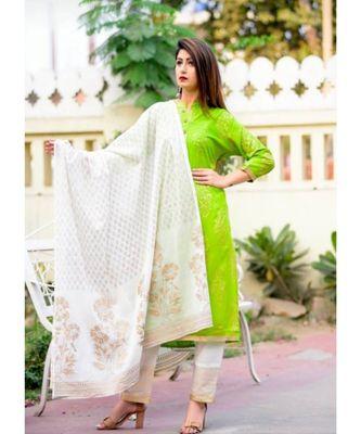 green printed Rayon Kurti With Pant And Dupatta
