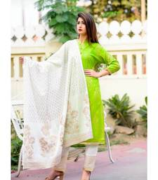 green printed Rayon Kurti With Pant And Dupatta