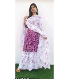 magenta printed Rayon Kurti With Skirt and Dupatta