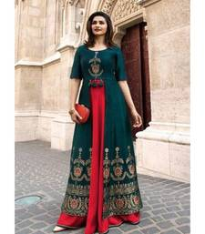 green embroidered Rayon Double Layer Heavy Embroidery Kurti