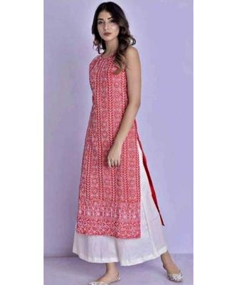 red printed Rayon Kurti with Palazzo