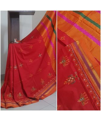 Red ilkal with traditional  kasuti embroidery